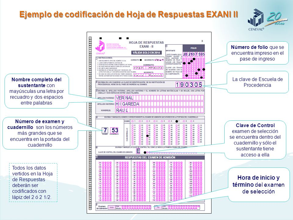 de Operación Enero de 2014 Llenado de la hoja de respuestas del EXANI ...