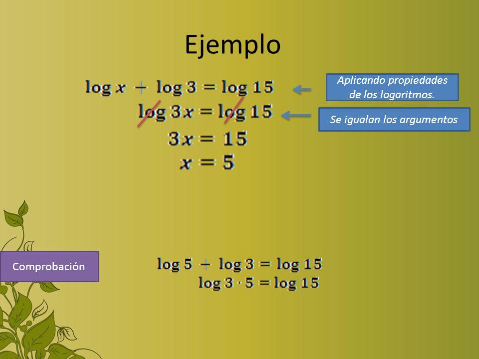 Ejemplo Comprobación Aplicando propiedades de los logaritmos. Se igualan los argumentos