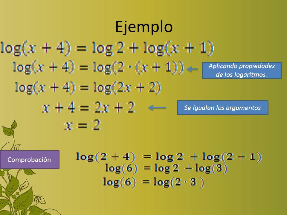 Ejemplo Aplicando propiedades de los logaritmos. Se igualan los argumentos Comprobación