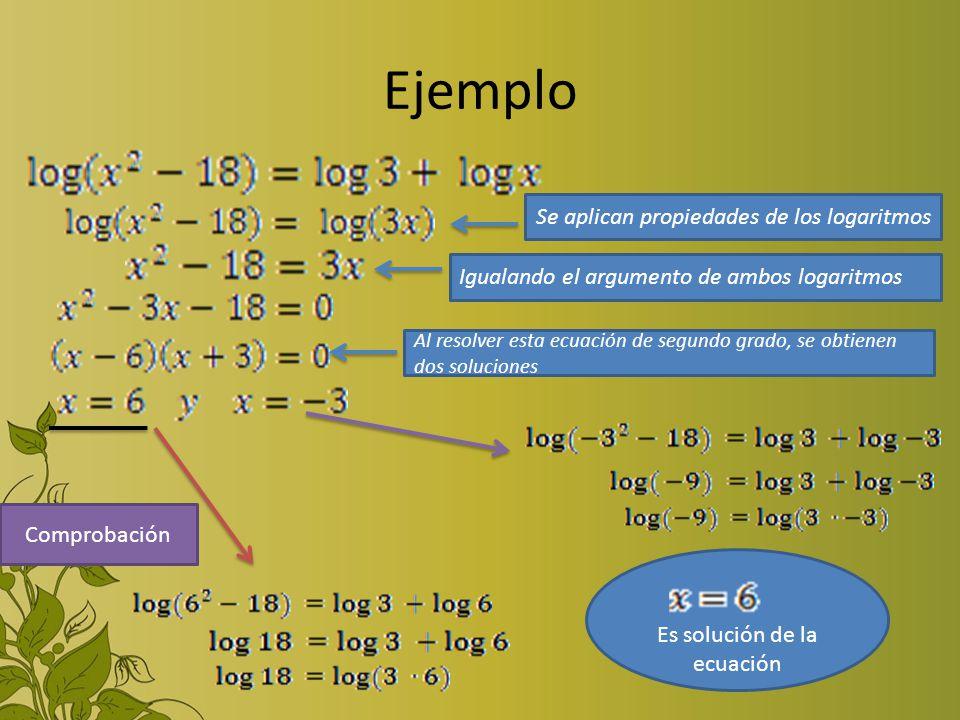 Ejemplo Se aplican propiedades de los logaritmos Igualando el argumento de ambos logaritmos Al resolver esta ecuación de segundo grado, se obtienen do