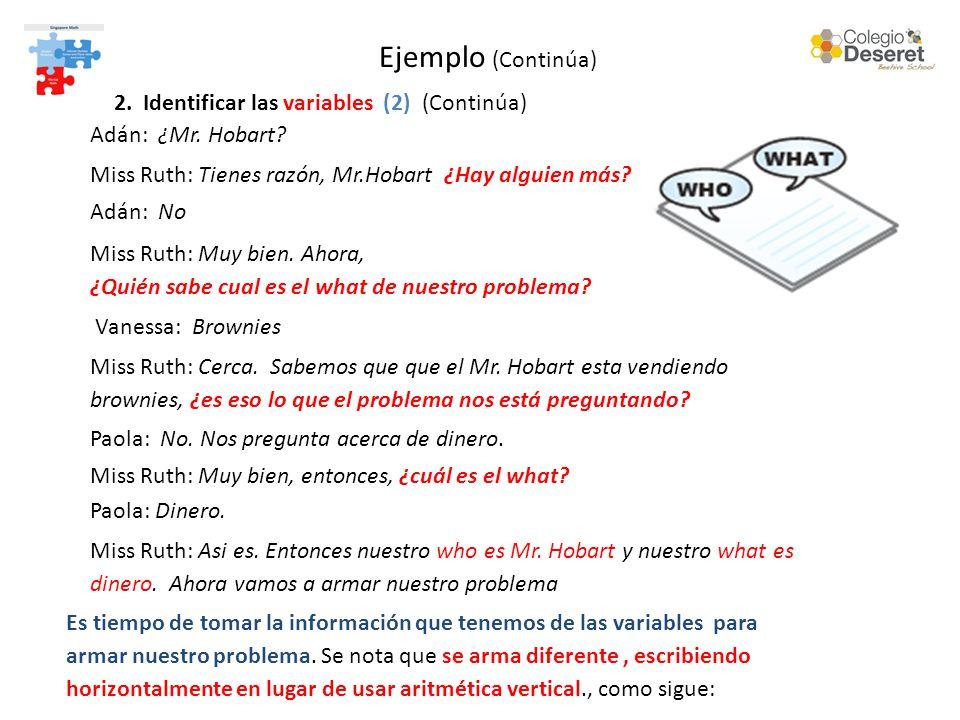 Ejemplo (Continúa) 2. Identificar las variables (2) (Continúa) Adán: ¿Mr.