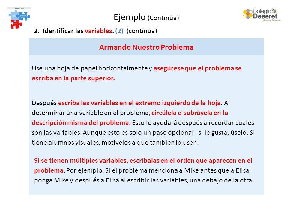 Ejemplo (Continúa) 2. Identificar las variables.