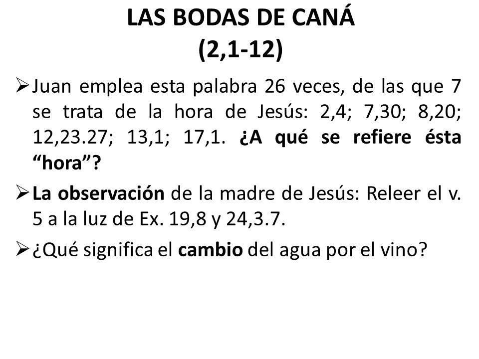 LAS BODAS DE CANÁ (2,1,12)  Juan emplea esta palabra
