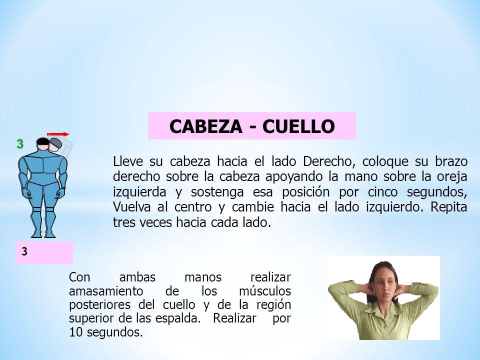 CUELLO - HOMBROS Pase los brazos por detrás de la espalda, con la mano derecha tome la muñeca izquierda y tire suavemente hacia abajo.