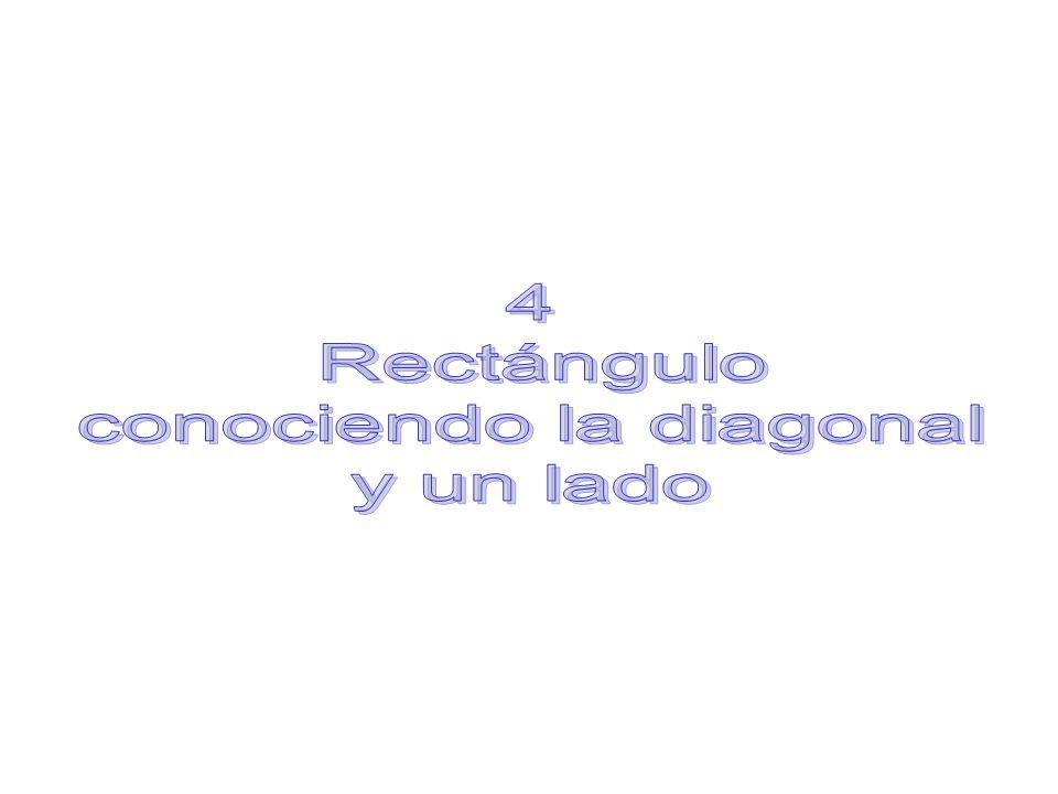 Construcción de un rectángulo, conociendo la diagonal y un lado: Con ayuda del compás marcaremos la longitud de la diagonal sobre la recta trazada anteriormente.