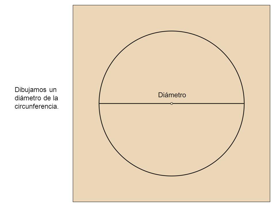 Escogemos sobre la circunferencia un punto cualquiera, punto A y lo unimos mediante líneas rectas con los extremos del diámetro.