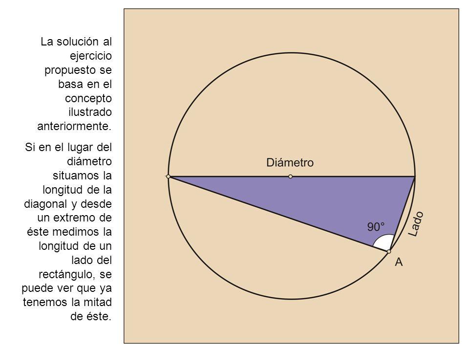 La solución al ejercicio propuesto se basa en el concepto ilustrado anteriormente. Si en el lugar del diámetro situamos la longitud de la diagonal y d