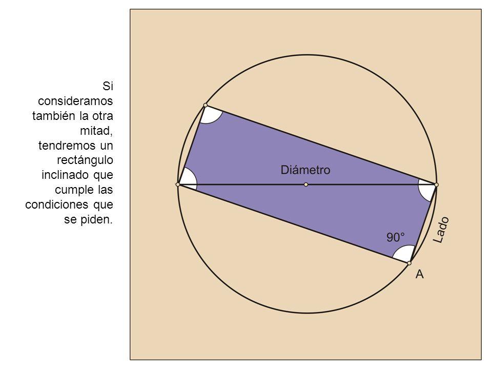 Construcción de un rectángulo, conociendo la diagonal y un lado: Los cuatro vértices definen el rectángulo que tiene el lado y la diagonal que se pide en el ejercicio.