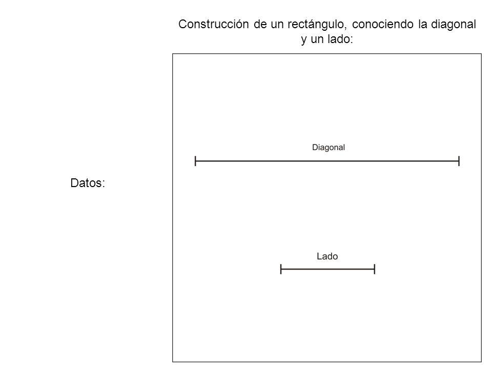 Construcción de un rectángulo, conociendo la diagonal y un lado: La actividad se considera realizada correctamente una vez que la figura principal se ha rotulado con limpieza y precisión.