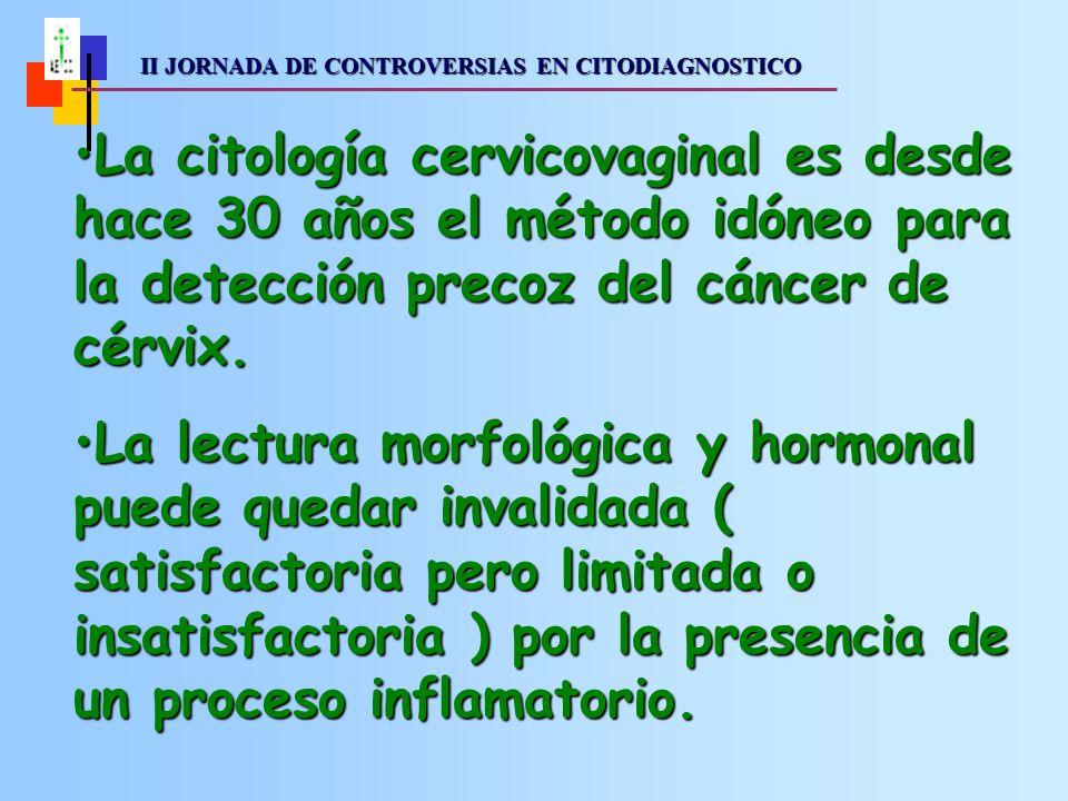 II JORNADA DE CONTROVERSIAS EN CITODIAGNOSTICO II JORNADA DE CONTROVERSIAS EN CITODIAGNOSTICO La citología cervicovaginal es desde hace 30 años el método idóneo para la detección precoz del cáncer de cérvix.La citología cervicovaginal es desde hace 30 años el método idóneo para la detección precoz del cáncer de cérvix.