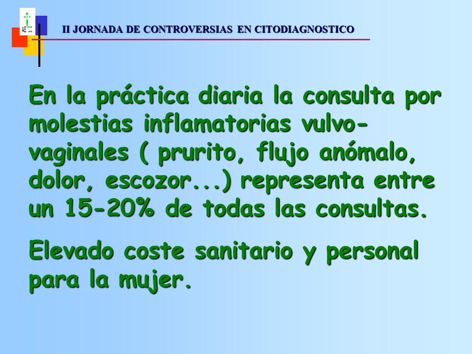 II JORNADA DE CONTROVERSIAS EN CITODIAGNOSTICO II JORNADA DE CONTROVERSIAS EN CITODIAGNOSTICO En la práctica diaria la consulta por molestias inflamatorias vulvo- vaginales ( prurito, flujo anómalo, dolor, escozor...) representa entre un 15-20% de todas las consultas.