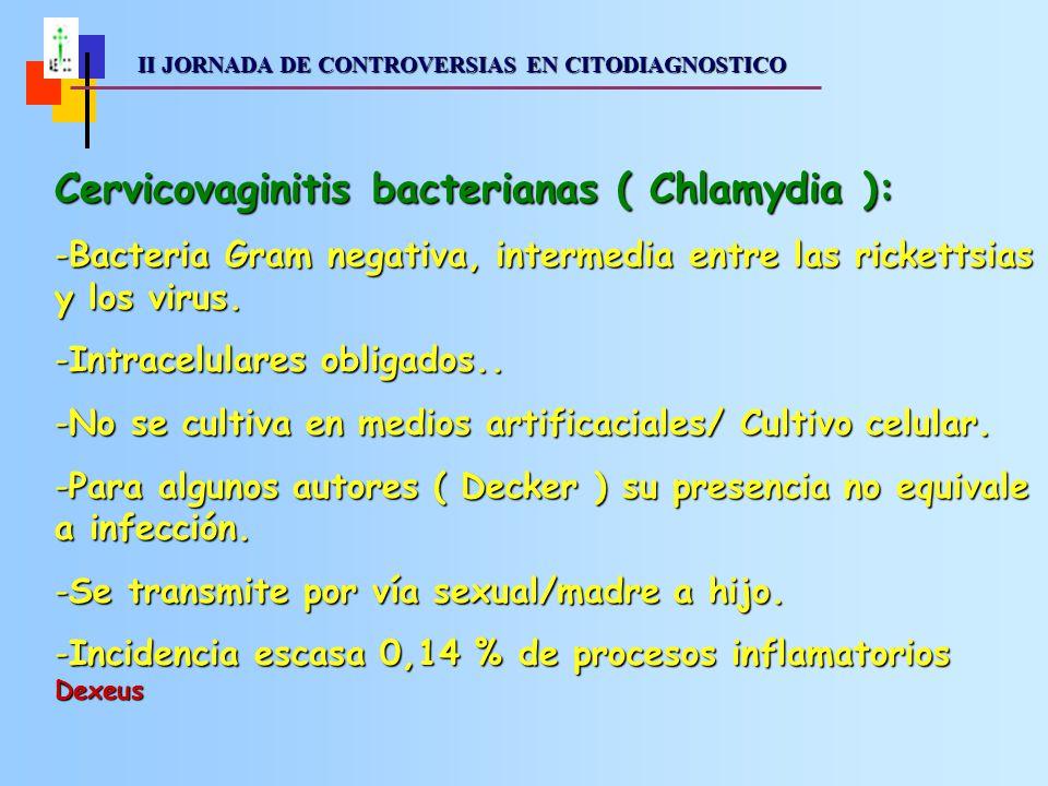 II JORNADA DE CONTROVERSIAS EN CITODIAGNOSTICO II JORNADA DE CONTROVERSIAS EN CITODIAGNOSTICO Cervicovaginitis bacterianas ( Chlamydia ): -Bacteria Gram negativa, intermedia entre las rickettsias y los virus.