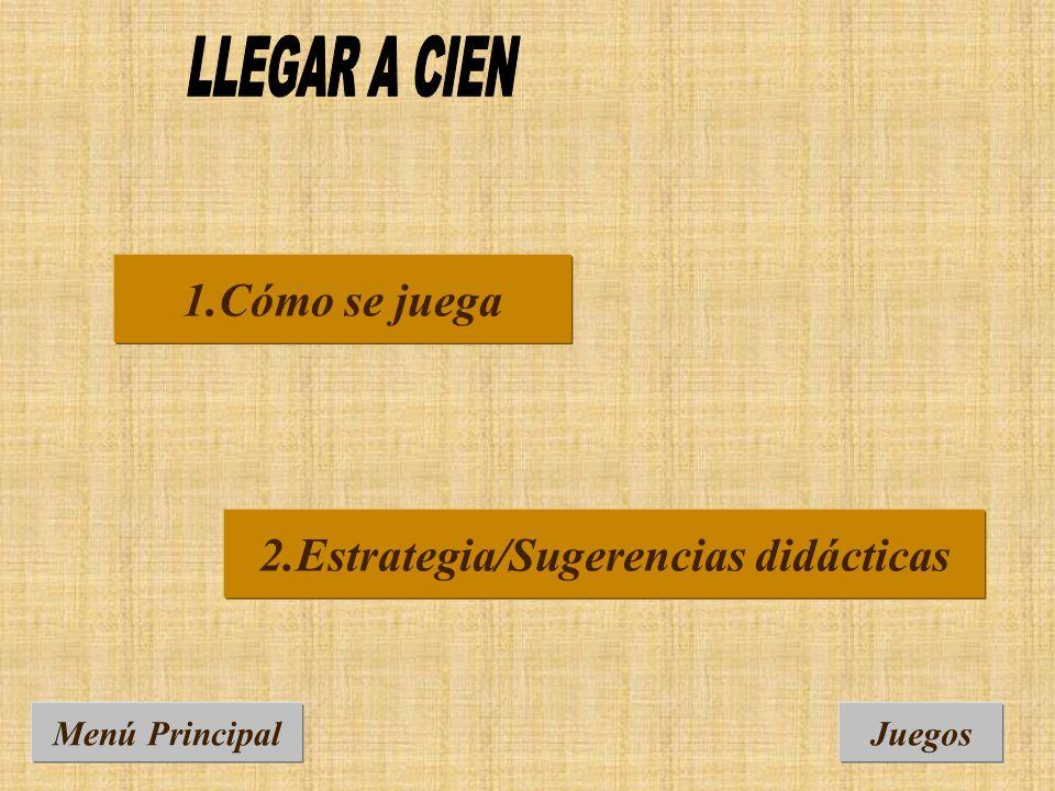 Menú PrincipalJuegos 2.Estrategia/Sugerencias didácticas 1.Cómo se juega