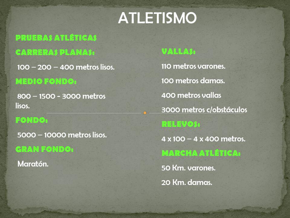 ATLETISMO PRUEBAS ATLÉTICAS CARRERAS PLANAS: 100 – 200 – 400 metros lisos.