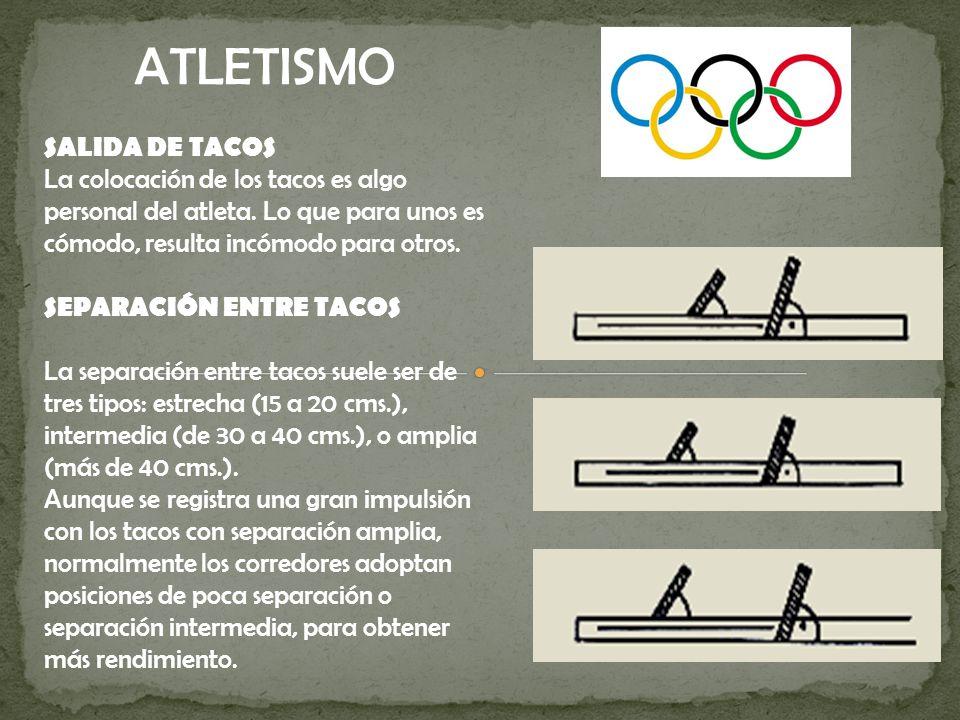 SALIDA DE TACOS La colocación de los tacos es algo personal del atleta.