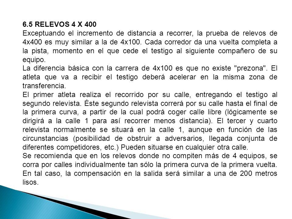 6.5 RELEVOS 4 X 400 Exceptuando el incremento de distancia a recorrer, la prueba de relevos de 4x400 es muy similar a la de 4x100.