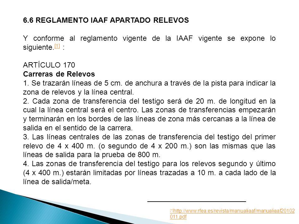 6.6 REGLAMENTO IAAF APARTADO RELEVOS Y conforme al reglamento vigente de la IAAF vigente se expone lo siguiente.