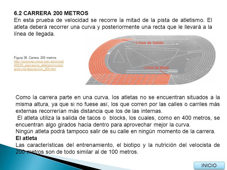 6.2 CARRERA 200 METROS En esta prueba de velocidad se recorre la mitad de la pista de atletismo.
