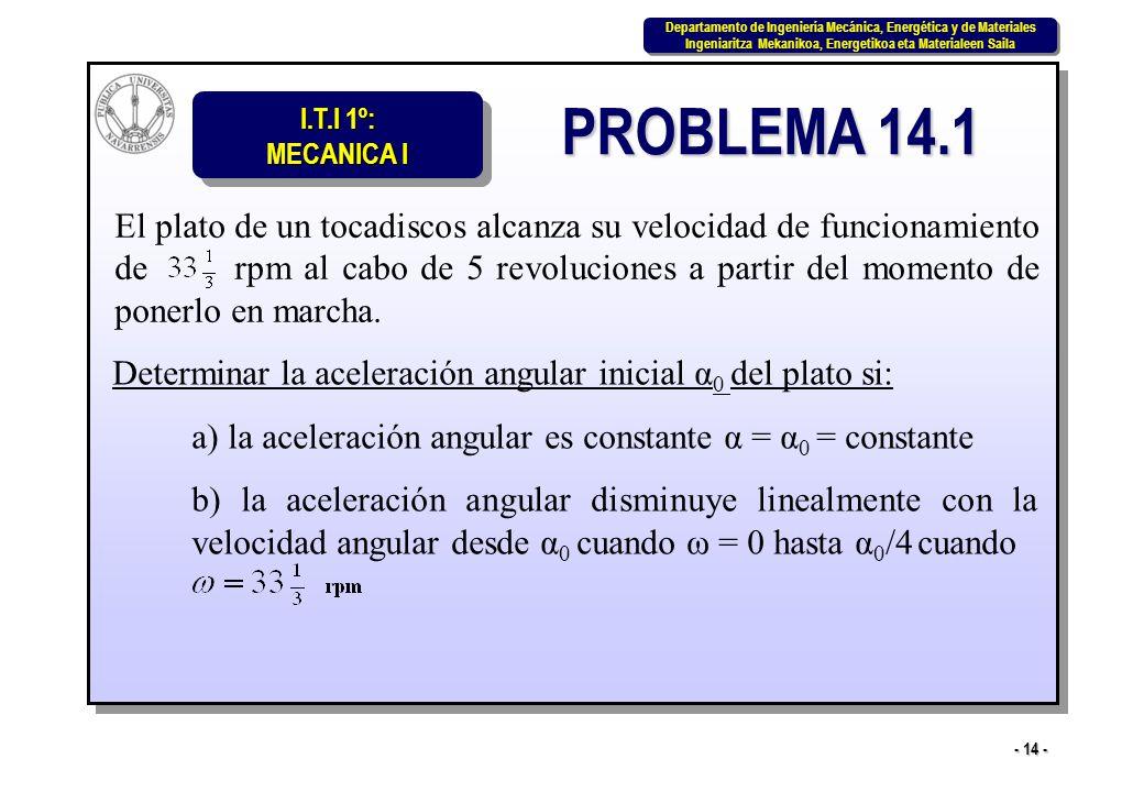 I.T.I 1º: MECANICA I Departamento de Ingeniería Mecánica, Energética y de Materiales Ingeniaritza Mekanikoa, Energetikoa eta Materialeen Saila Departamento de Ingeniería Mecánica, Energética y de Materiales Ingeniaritza Mekanikoa, Energetikoa eta Materialeen Saila - 14 - PROBLEMA 14.1 El plato de un tocadiscos alcanza su velocidad de funcionamiento de rpm al cabo de 5 revoluciones a partir del momento de ponerlo en marcha.
