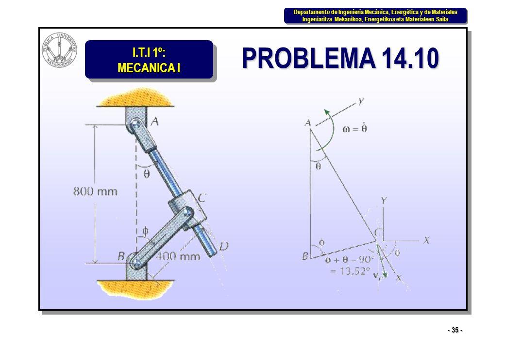 I.T.I 1º: MECANICA I Departamento de Ingeniería Mecánica, Energética y de Materiales Ingeniaritza Mekanikoa, Energetikoa eta Materialeen Saila Departamento de Ingeniería Mecánica, Energética y de Materiales Ingeniaritza Mekanikoa, Energetikoa eta Materialeen Saila - 35 - PROBLEMA 14.10