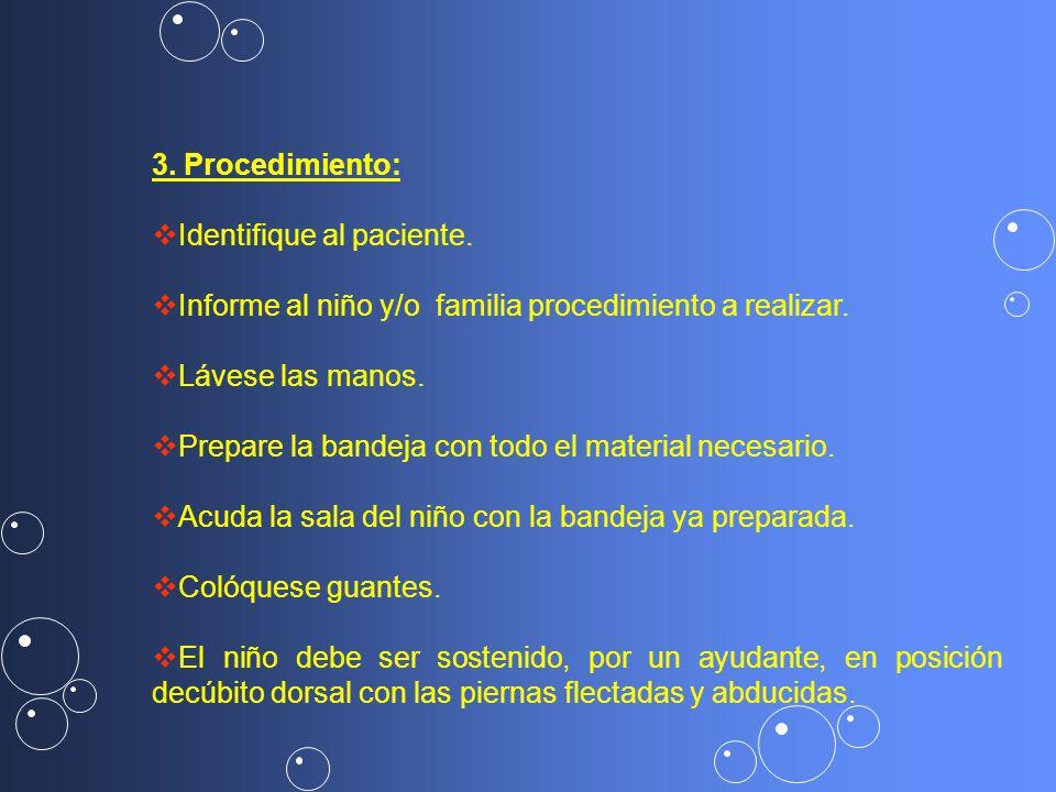 3.Procedimiento Identifique al paciente. Informe al niño y/o familia.