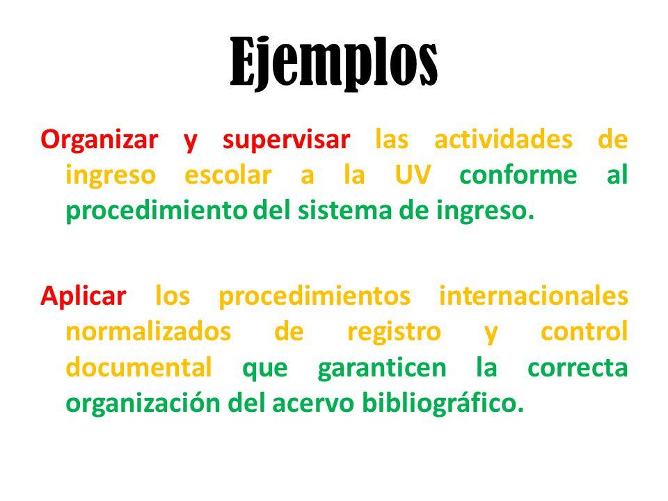 Ejemplos Organizar y supervisar las actividades de ingreso escolar a la UV conforme al procedimiento del sistema de ingreso.
