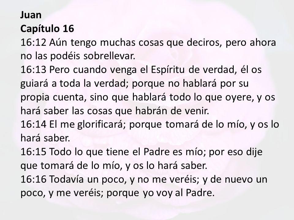 Juan Capítulo 16 16:6 Antes, porque os he dicho estas cosas, tristeza ha llenado vuestro corazón.