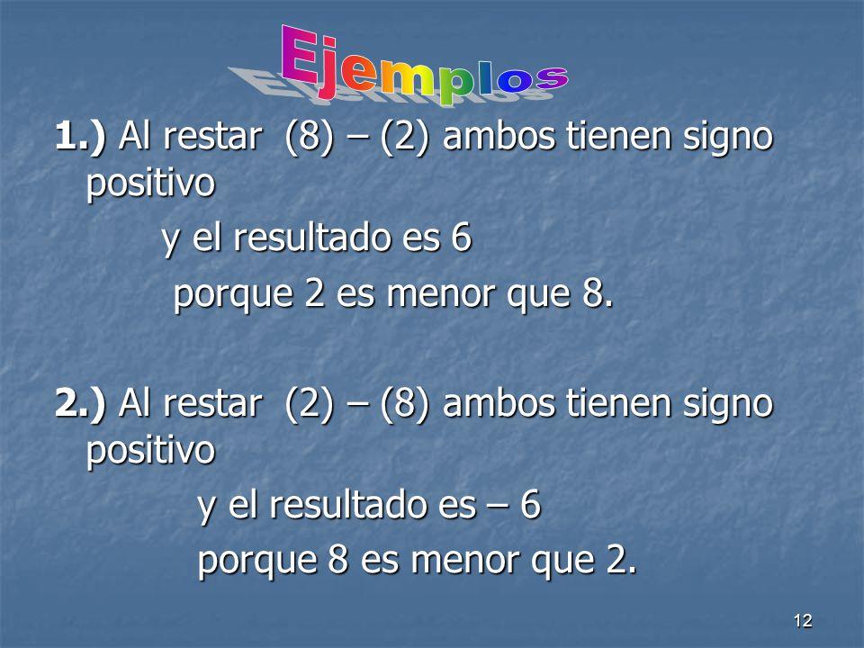 12 1.) Al restar (8) – (2) ambos tienen signo positivo y el resultado es 6 y el resultado es 6 porque 2 es menor que 8.