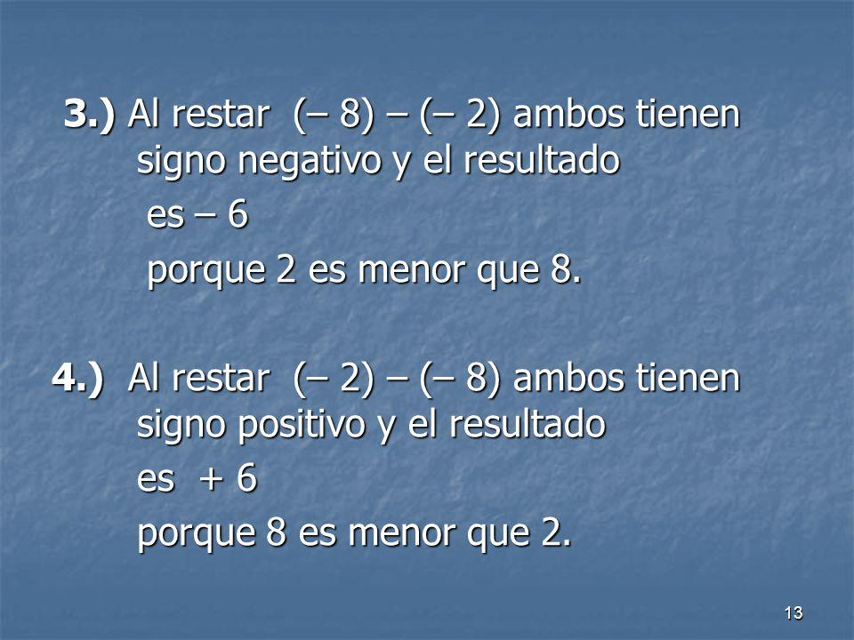 13 3.) Al restar (– 8) – (– 2) ambos tienen signo negativo y el resultado 3.) Al restar (– 8) – (– 2) ambos tienen signo negativo y el resultado es – 6 es – 6 porque 2 es menor que 8.