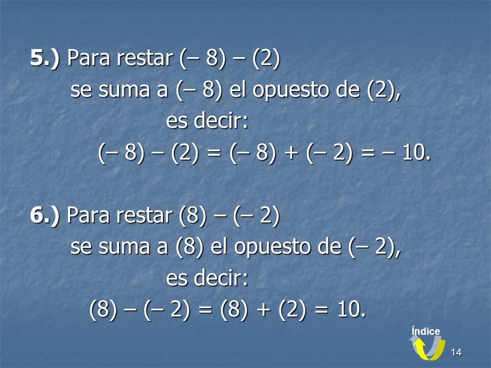 14 5.) Para restar (– 8) – (2) se suma a (– 8) el opuesto de (2), se suma a (– 8) el opuesto de (2), es decir: es decir: (– 8) – (2) = (– 8) + (– 2) = – 10.