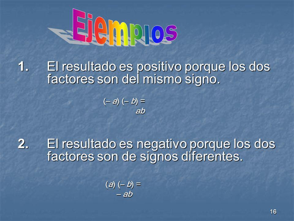 16 1.El resultado es positivo porque los dos factores son del mismo signo.