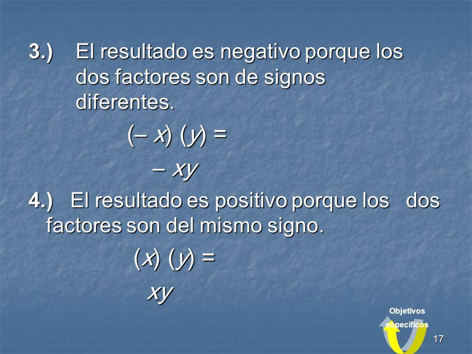 17 3.)El resultado es negativo porque los dos factores son de signos diferentes.