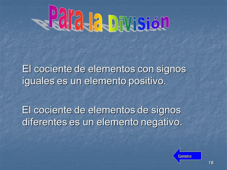 18 El cociente de elementos con signos iguales es un elemento positivo.