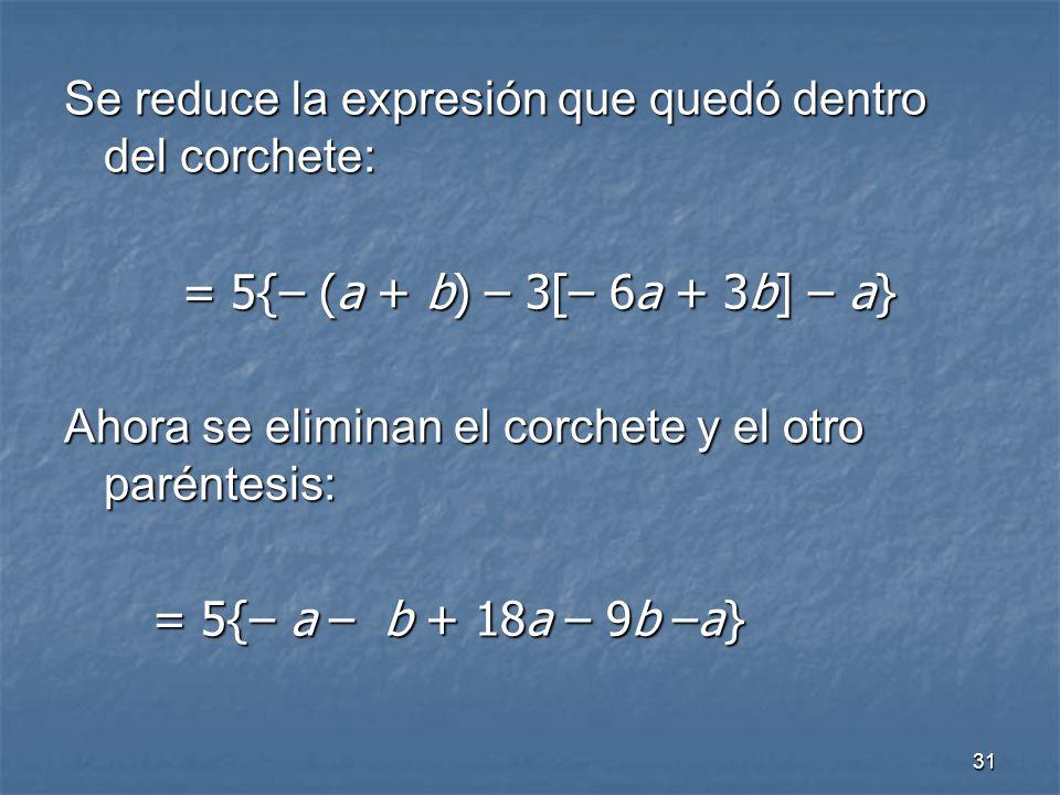 31 Se reduce la expresión que quedó dentro del corchete: = 5{– (a + b) – 3[– 6a + 3b] – a} Ahora se eliminan el corchete y el otro paréntesis: = 5{– a – b + 18a – 9b –a}