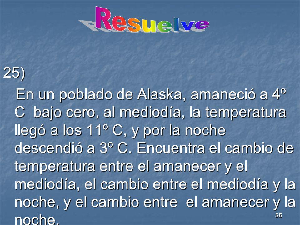 55 25) En un poblado de Alaska, amaneció a 4º C bajo cero, al mediodía, la temperatura llegó a los 11º C, y por la noche descendió a 3º C.