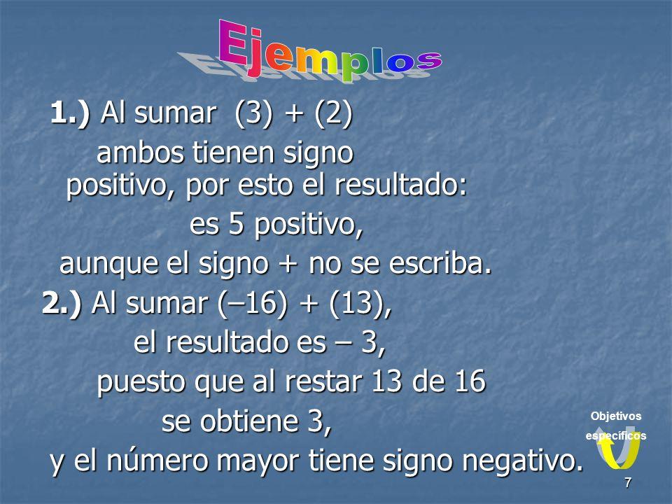 7 1.) Al sumar (3) + (2) ambos tienen signo positivo, por esto el resultado: es 5 positivo, aunque el signo + no se escriba.