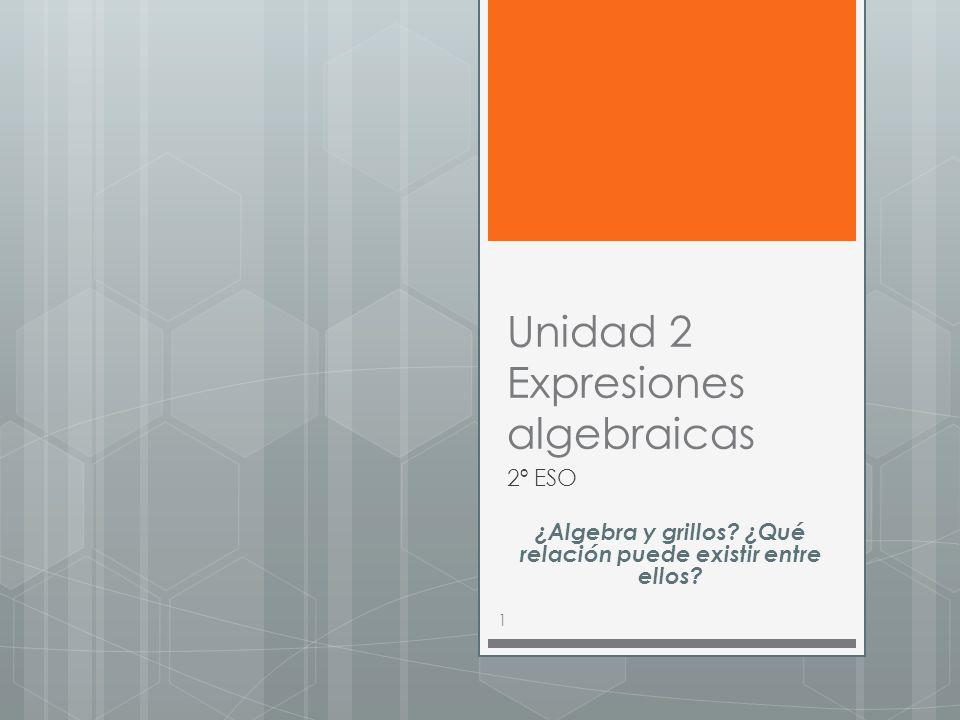 Unidad 2 Expresiones algebraicas 2º ESO ¿Algebra y grillos.