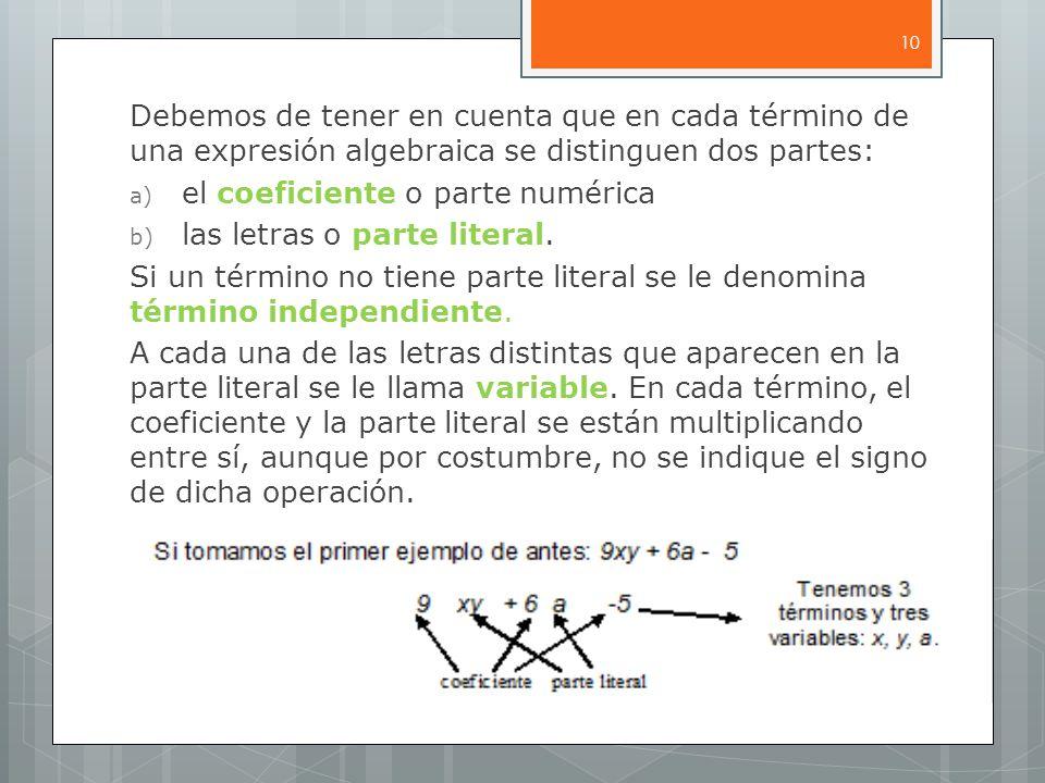 Debemos de tener en cuenta que en cada término de una expresión algebraica se distinguen dos partes: a) el coeficiente o parte numérica b) las letras o parte literal.