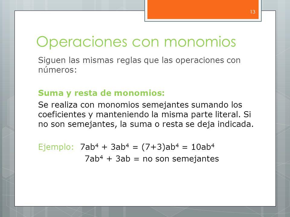 Operaciones con monomios Siguen las mismas reglas que las operaciones con números: Suma y resta de monomios: Se realiza con monomios semejantes sumando los coeficientes y manteniendo la misma parte literal.