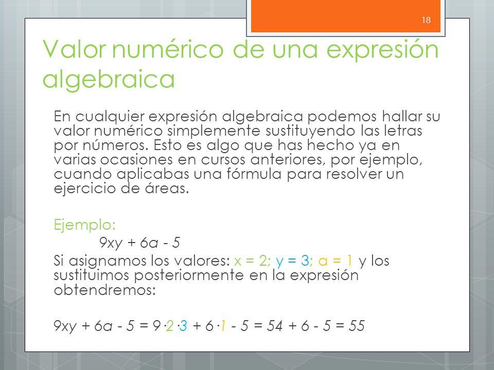 Valor numérico de una expresión algebraica En cualquier expresión algebraica podemos hallar su valor numérico simplemente sustituyendo las letras por números.