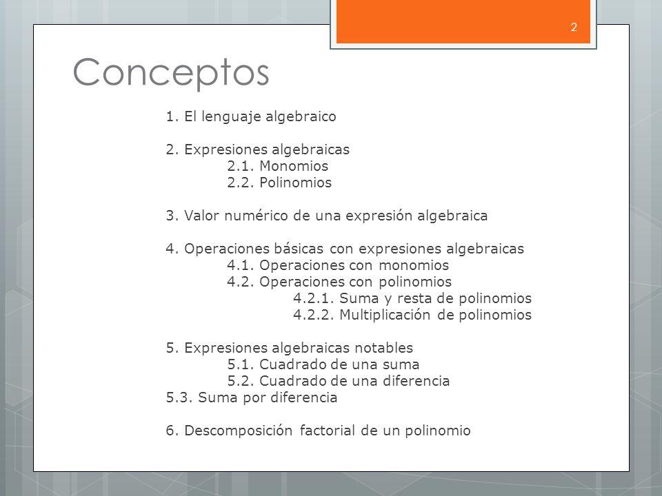 Conceptos 1.El lenguaje algebraico 2. Expresiones algebraicas 2.1.