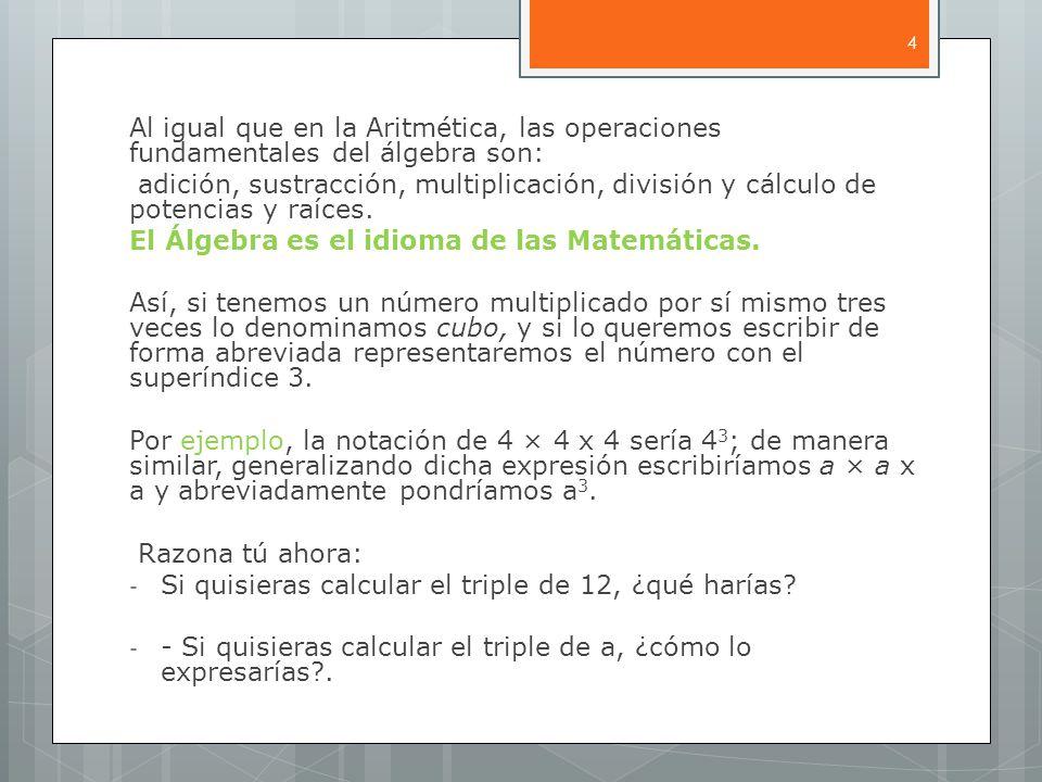 Al igual que en la Aritmética, las operaciones fundamentales del álgebra son: adición, sustracción, multiplicación, división y cálculo de potencias y raíces.