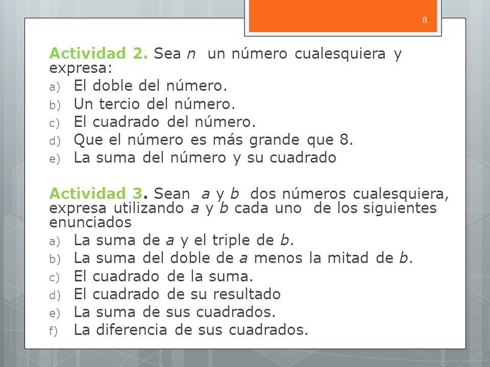 Actividad 2.Sea n un número cualesquiera y expresa: a) El doble del número.