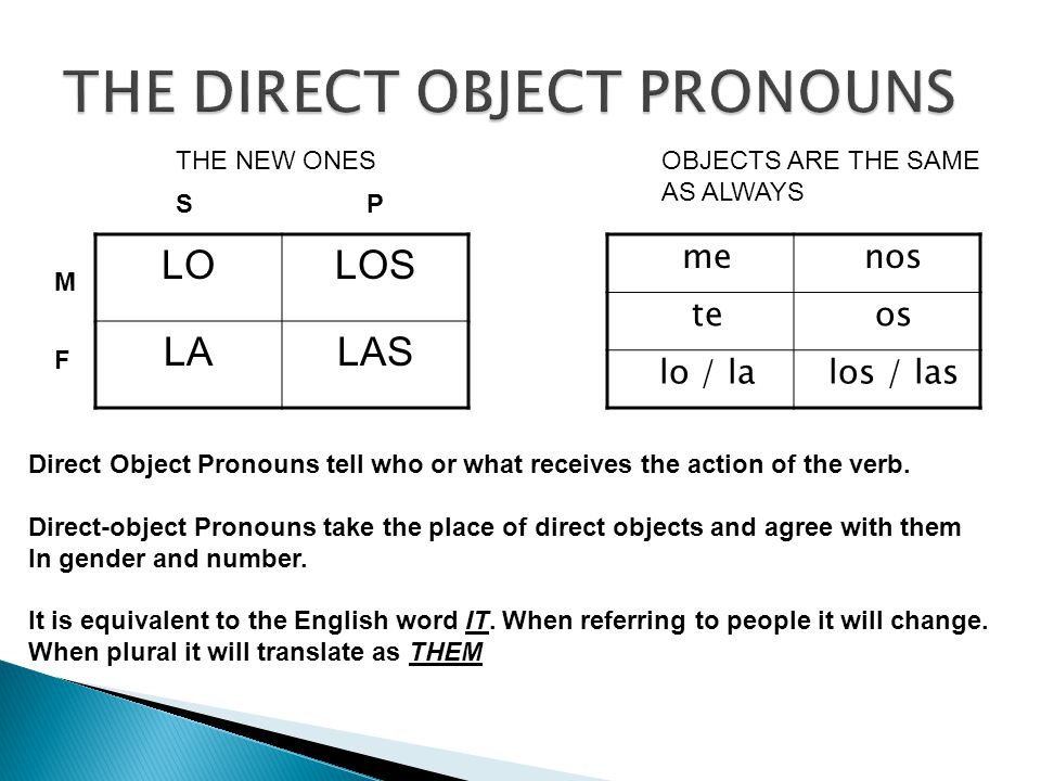 LOLOS LALAS M F SP Direct Object Pronouns tell who or what receives the action of the verb.