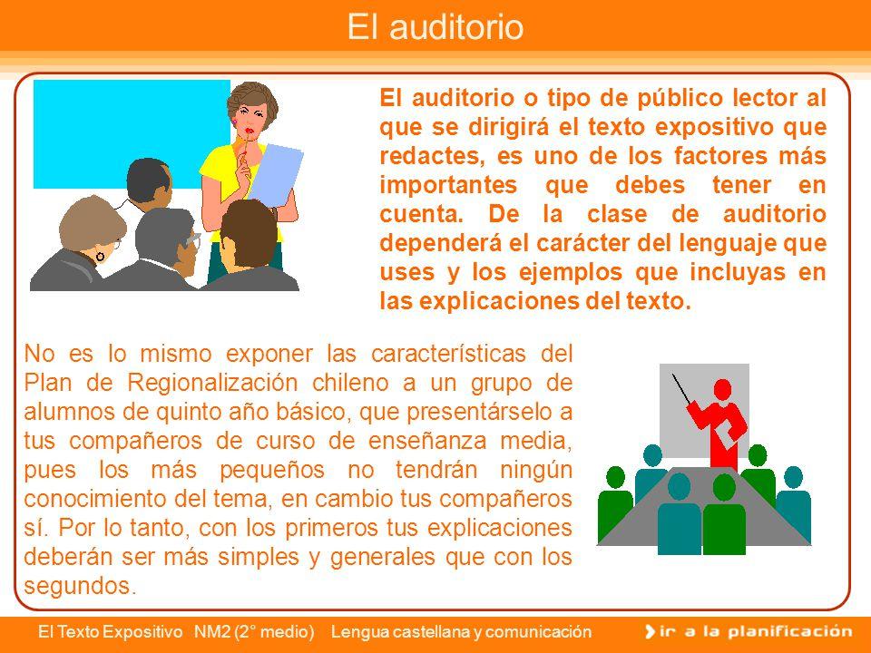 El Texto Expositivo NM2 (2° medio) Lengua castellana y comunicación El texto expositivo es un tipo de discurso que se caracteriza por contener información explícita y clara sobre algún tema en específico, es decir, en este tipo de textos prima la función referencial del lenguaje.