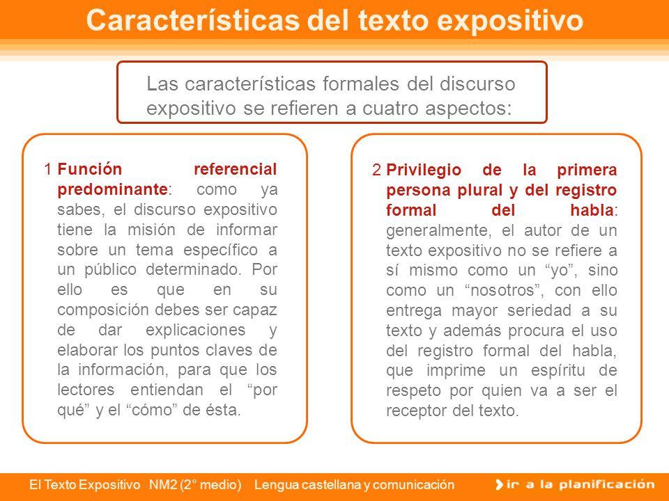 El Texto Expositivo NM2 (2° medio) Lengua castellana y comunicación Estructura del texto expositivo La estructura general y básica de un texto expositivo consta de tres partes: introducción, desarrollo y conclusión.