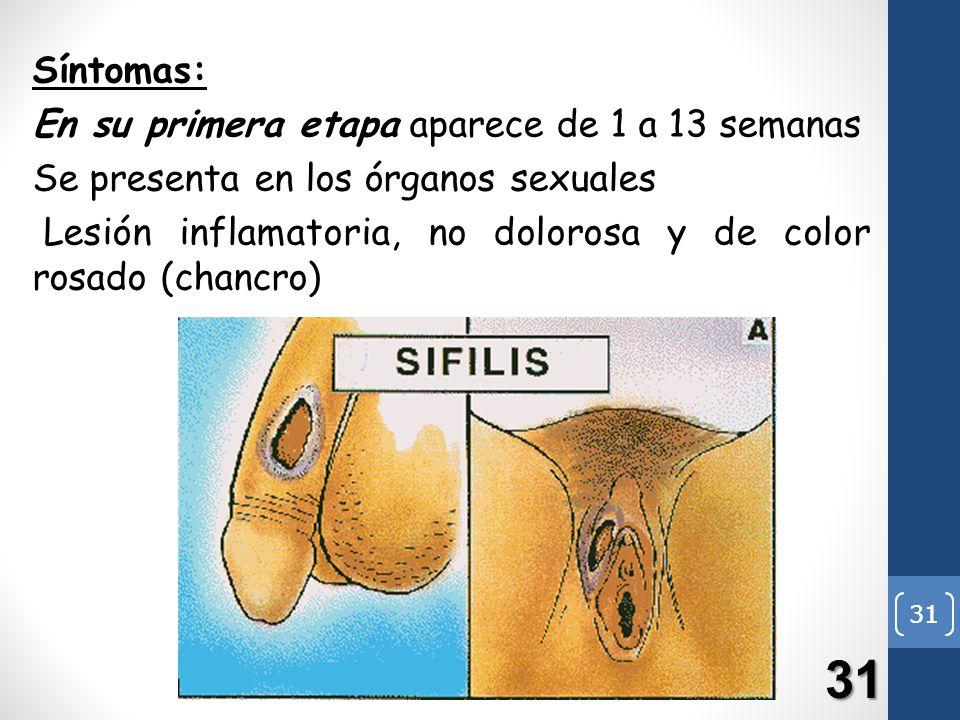 31 Síntomas: En su primera etapa aparece de 1 a 13 semanas Se presenta en los órganos sexuales Lesión inflamatoria, no dolorosa y de color rosado (cha