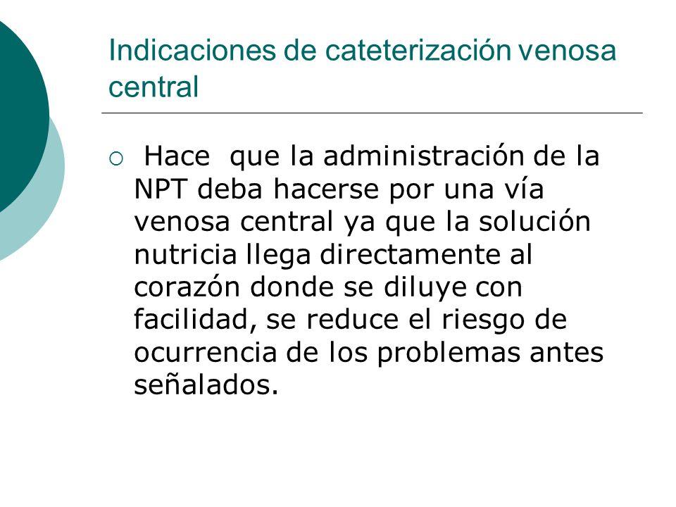 Indicaciones de cateterización venosa central  Hace que la administración de la NPT deba hacerse por una vía venosa central ya que la solución nutric