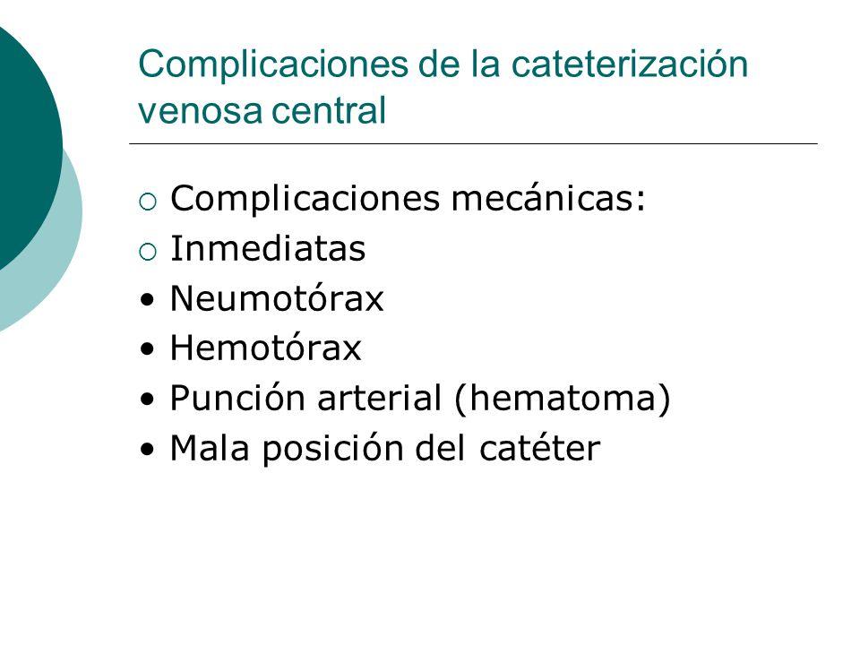 Complicaciones de la cateterización venosa central  Complicaciones mecánicas:  Inmediatas Neumotórax Hemotórax Punción arterial (hematoma) Mala posi