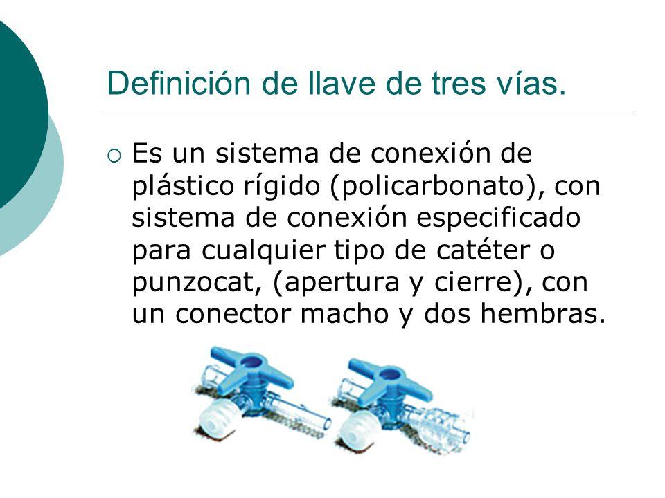 Definición de llave de tres vías.  Es un sistema de conexión de plástico rígido (policarbonato), con sistema de conexión especificado para cualquier